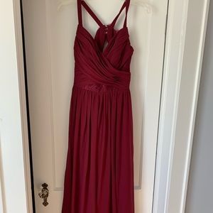 Hayley Paige wine floor length bridesmaid dress